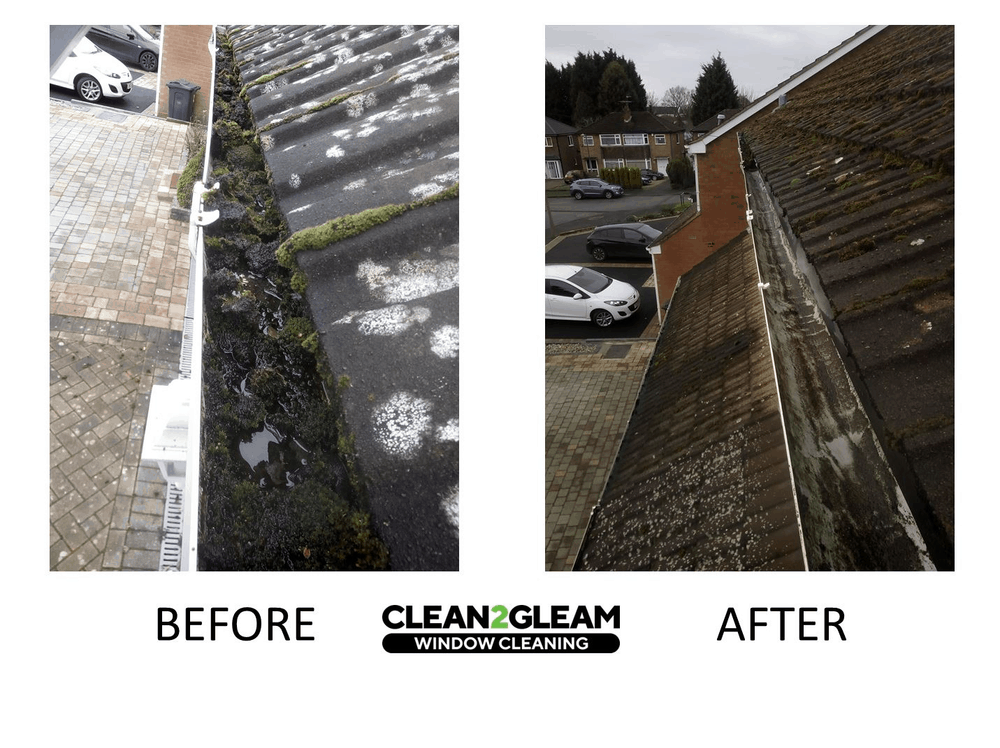 Example gutter clearing before and after
