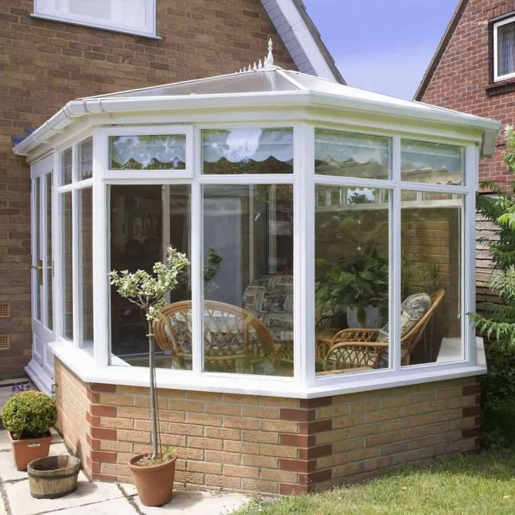 View of a conservatory in the sunshine