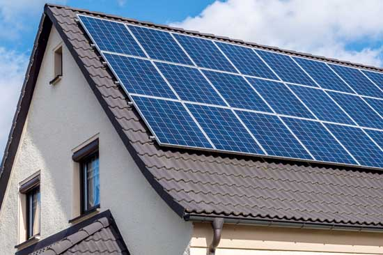 roof with clean solar panels on it